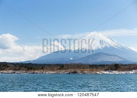 Lake Shoji and Fujisan with blue sky