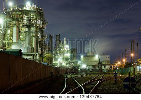 Industrial Factory working at night in kawasaki