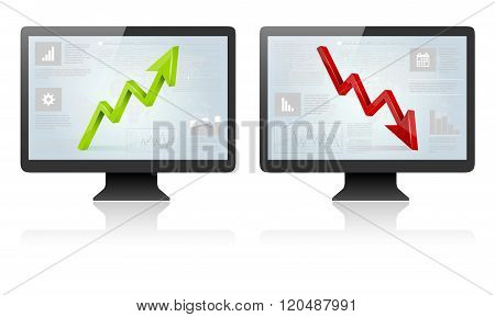 Computer Screens With Green And Red 3D Arrow
