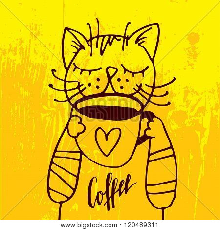 The Cat Is Drinking A Cup Of Coffee In The Cozy Yellow Background.