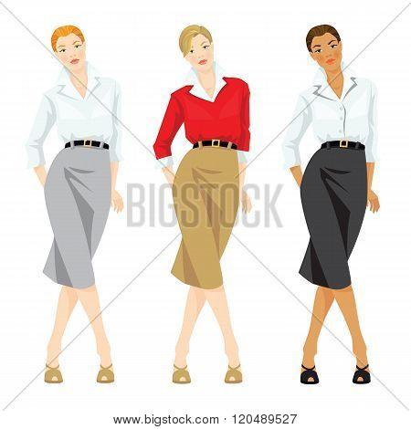 Business woman or professor in elegant formal suit.