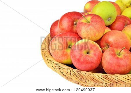 Red Apple In A Wattled Basket