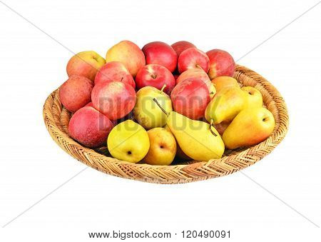 Apple And Pear In A Wattled Basket