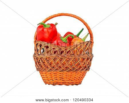 Red Pepper In A Wattled Basket