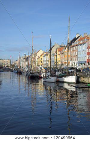 Nyhavn Canal sunny November day. Copenhagen, Denmark