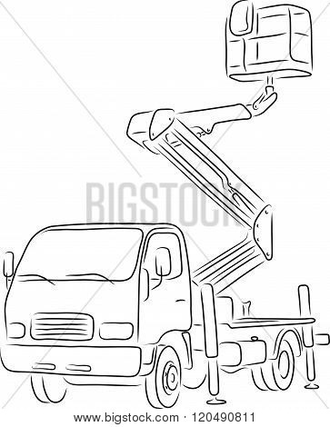 Outline of bucket truck, vector illustration