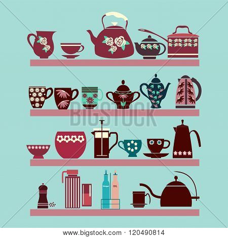 Set Of Tea Collection With A Tea Pot, Tea Cup, Jars, Jugs On The Shelves