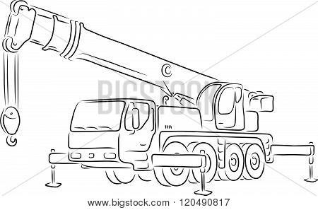 Outline of truck-mounted crane, vector illustration