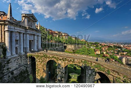 BERGAMO, LOMBARDY, ITALY - APRIL 16, 2014: The gates Porta San Giacomo in Citta Alta