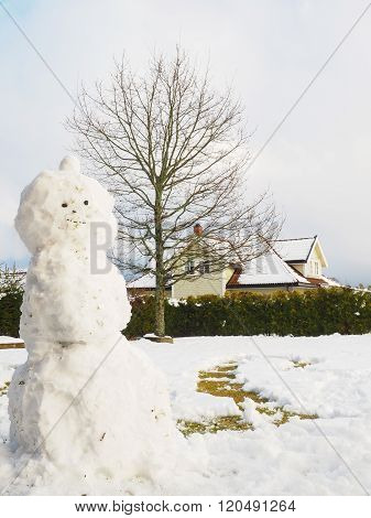 Snowman In Garden Half Done, Without Scarf, Hat And Carrot In Front Of House And Oak Tree