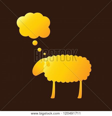 Golden Sheep With Dream Bubble