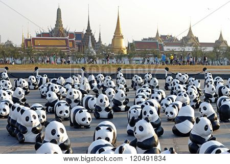 Bangkok, Thailand - March 4Th, 2016: Exhibition Of The 1,600 Paper Mache Panda Sculptures World Tour