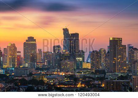 Bangkok skyline with beautiful sky in evening.