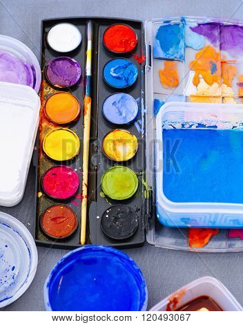 Colour Palette With Painting Arts Craft Brush On Table Top View