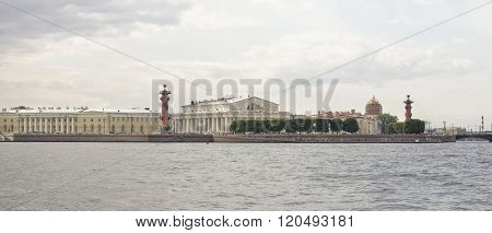 RUSSIA; SAINT-PETERSBURG - JULY 8 -View of the Spit of Vasilyevsky Island on July 8; 2015 in St. Petersburg
