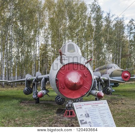 MONINO MOSCOW REGION RUSSIA- OCTOBER 8- Su-17M3(1966) The first Soviet supersonic variable sweep wing fighter-bomber in a series.Max.speedkm/h-2100 on October 8; 2015 in Central Museum of the Russian Air Force Monino