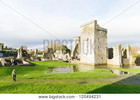 Landscape photo of flooded ruins Kells Priory in Ireland