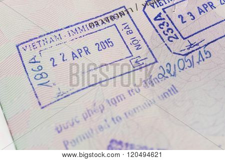 Sign of Visa passport stamp from vietnam