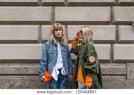 Two Fashionable Women Outside Sportmax Fashion Show During Milan Women's Fashion Week