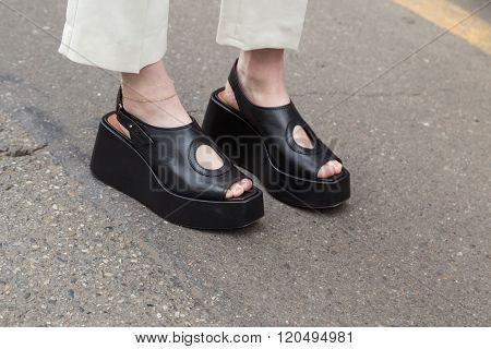Detail Of Shoes Outside Sportmax Fashion Show During Milan Women's Fashion Week