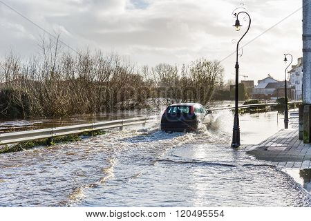 Flooding River In An Irish Town