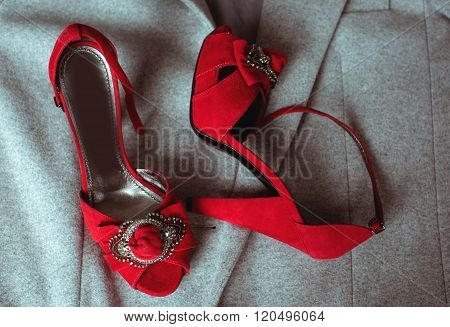 Red Fashionable Shoes And Clothing