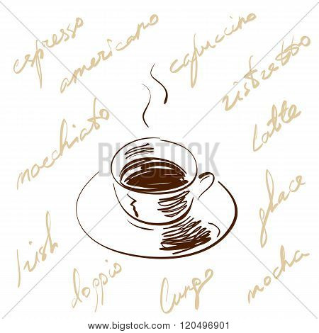 Vector illustration hand drawn coffee cup with hot black coffee and saucer, decorated with handwritt