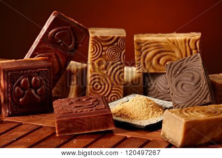 Variety of aesthetic natural soap bars.