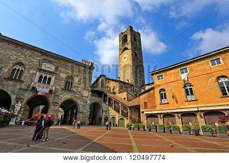 BERGAMO, LOMBARDY, ITALY - APRIL 14, 2014: Bergamo Old Town. Piazza Vecchia. Town hall