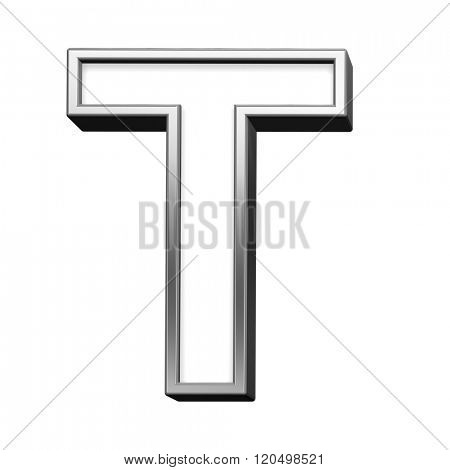 One letter from white with silver shiny frame alphabet set, isolated on white. Computer generated 3D photo rendering.