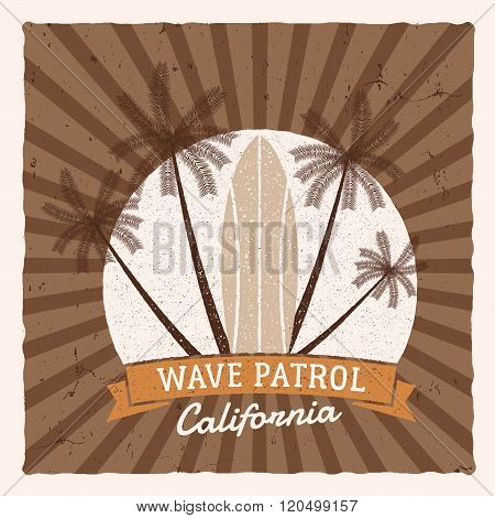 Vintage Surfing Graphics and Poster for web design or print. Surfer, beach style logo design. Surf B