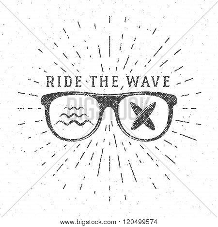 Vintage Surfing Graphics and Poster for web design or print. Surfer glasses emblem, summer beach log