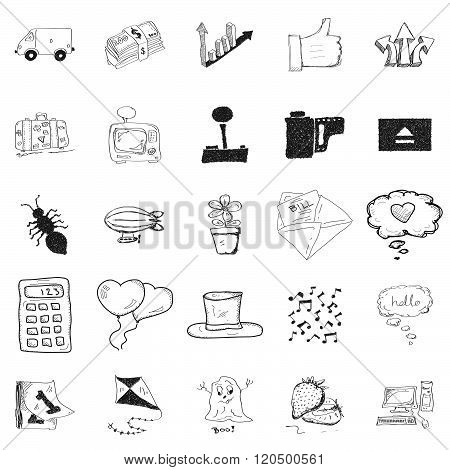 Set Of 25 Doodle Illustrations