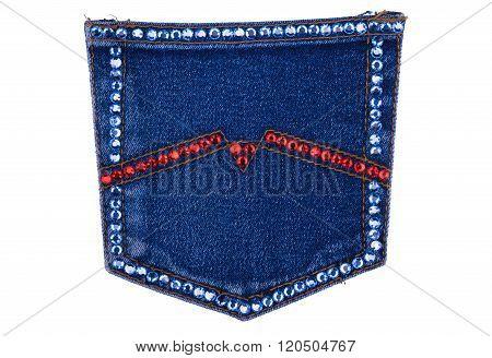Denim Pocket Encrusted With Rhinestones