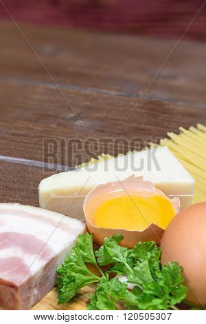 Ingredients For Spaghetti Carbonara. Vertically.