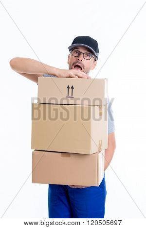 Overstrained Postman With Parcels