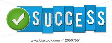 Success Blue Stripes Tick Button