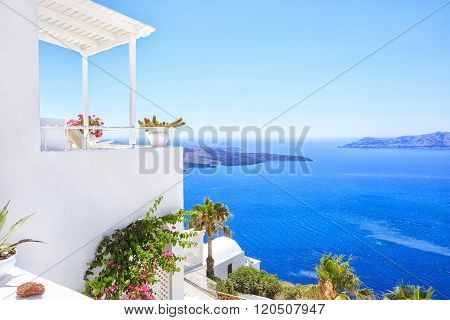 Perfect view with Traditional Greek house on the sea side