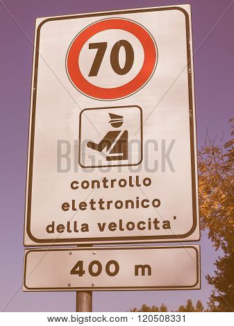 Maximum Speed Sign Vintage
