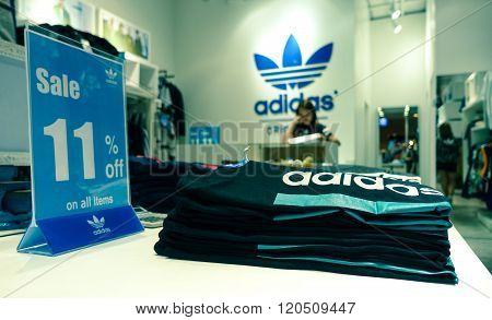 Pattaya, Thailand - January 13 , 2016: Adidas Store Located In A Shopping Center