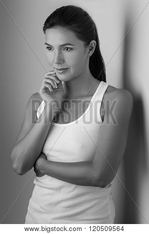 Single Grinning Woman With Thoughtful Expression