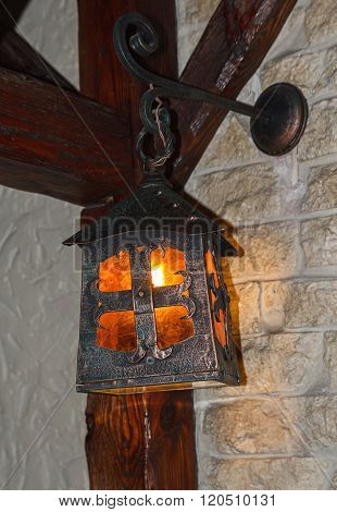 Vintage Lantern In The Interior Of A Cafe. Interior And Lighting