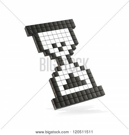 Hourglass mouse cursor. 3D render illustration isolated on white background. Small version