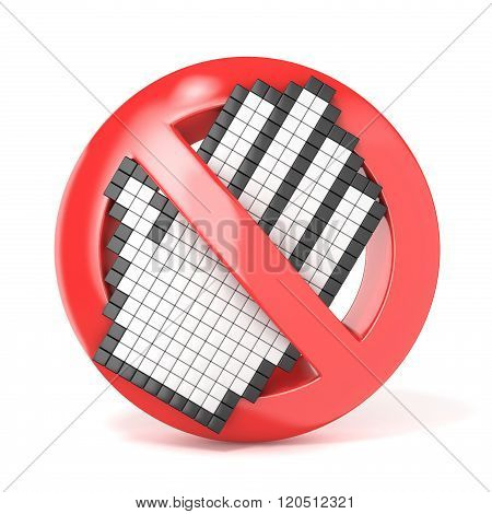 Forbidden sign with open hand cursor. 3D