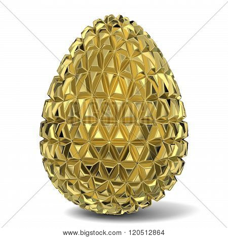 Gold triangulated egg ornament. 3D