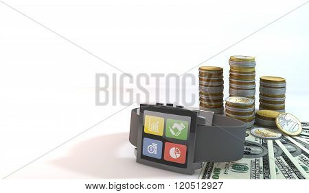 City Smart Concept Smart Watch About Coin With 100 Dollar Bill