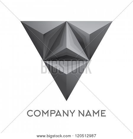 Abstract company logo with 3d triangle figure. Isolated on white background