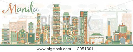Abstract Manila Skyline with Color Buildings. Business Travel and Tourism Concept with Modern Buildings. Image for Presentation Banner Placard and Web Site.