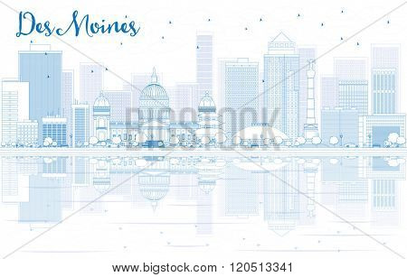 Outline Des Moines skyline with blue buildings and reflections. Business travel and tourism concept with place for text. Image for presentation, banner, placard and web site.