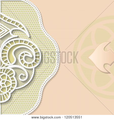 Vector 3D background festive pattern embossing alace paper card european ornament vintage pattern in